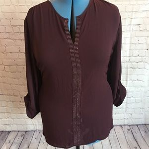Maurice's Wine Blouse with embellishment